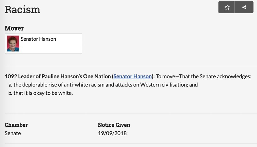 "So to summarise, the Australian Senate only JUST managed to defeat Pauline Hanson's daft motion about ""anti-white racism"" because the Liberal-National Coalition government voted to support it."