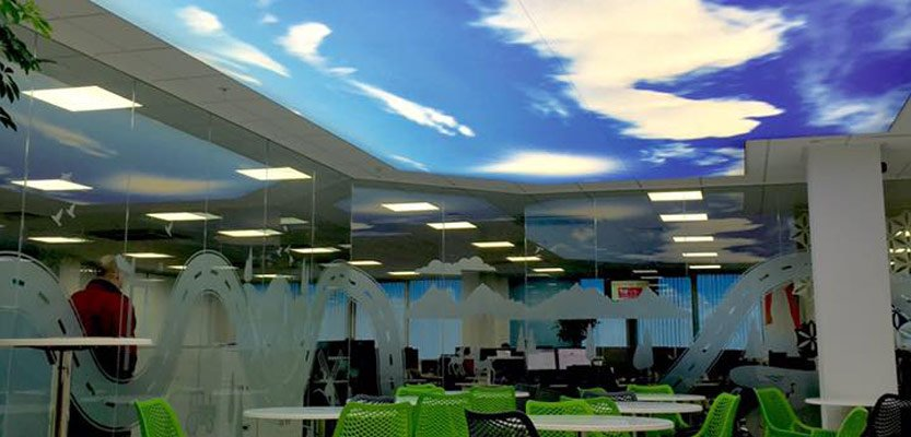 Using a Barrisol stretch system we installed this sky print ceiling with back-lighting at the Vauxhall head offices in Luton.  Watch the video: https://youtu.be/ynPtVnKg3Uw  #Barrisol #StretchCeiling #IlluminatedCeiling #BlueSkies