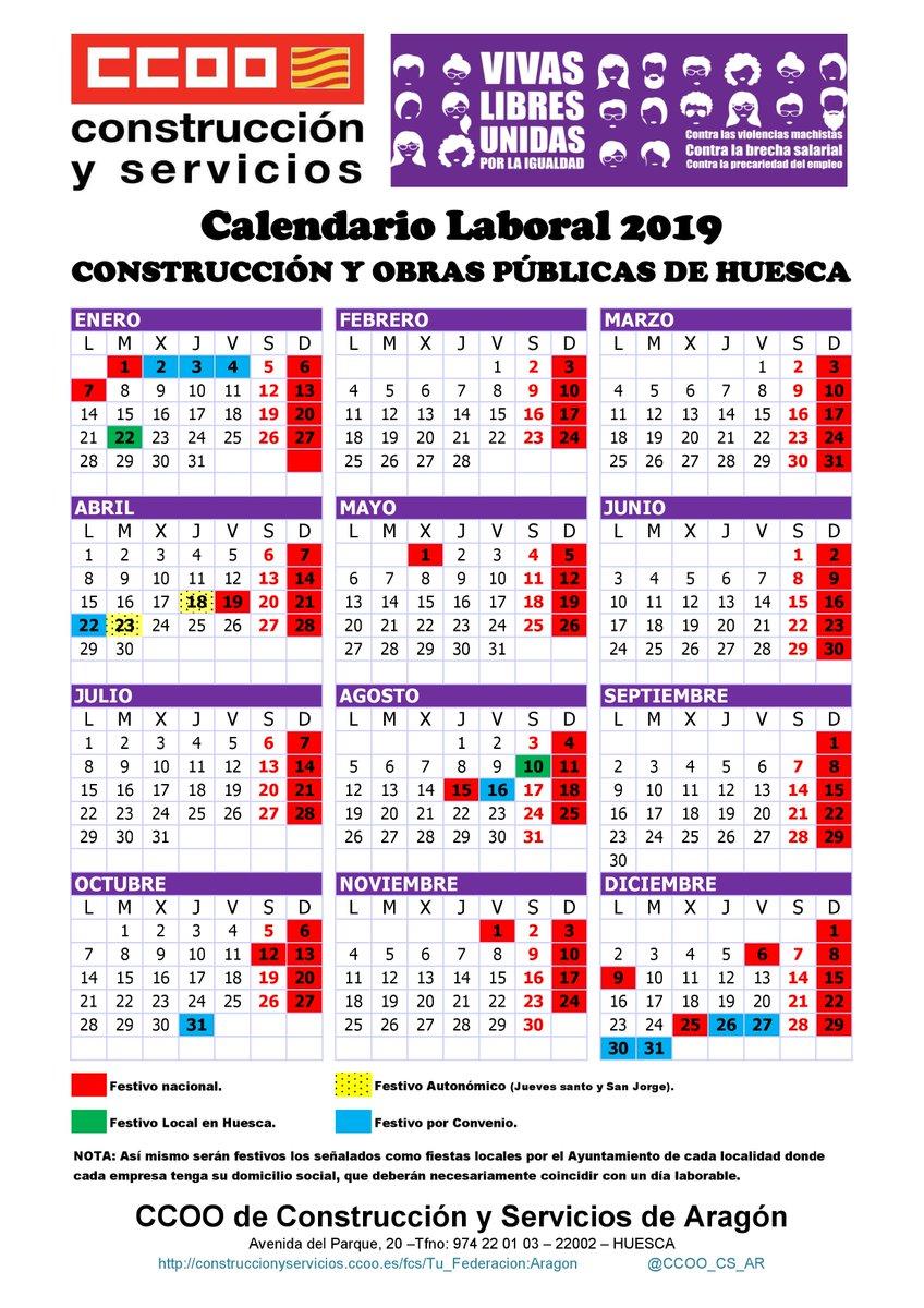 Calendario Laboral De La Construccion 2019.Ccoo Cs Aragon On Twitter Ccoo Cs Ar Firma El Calendario Laboral