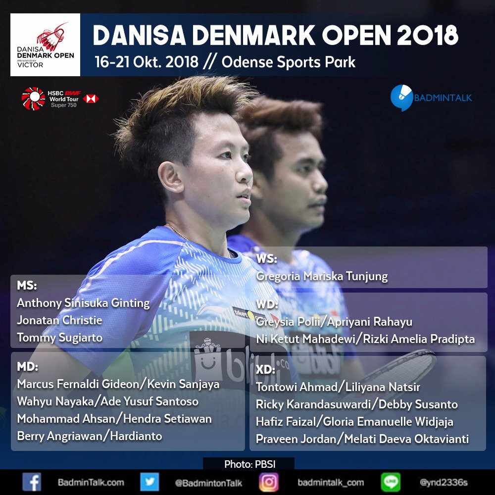 IT&#39;S TOMORROW!!!  ARE YOU READYYY???  #DenmarkOpenSuper750 starting in less than 24 hours!!  Indonesia&#39;s representatives:  MS: Ginting, Tommy, Jonatan WS: Gregoria MD: Marcus/Kevin, Wahyu/Ade, Ahsan/Hendra, BenTo WD: Greysia/Apri, Ketut/Rizki XD: Owi/Butet, RicDeb, HafGlo, PraMel <br>http://pic.twitter.com/54TP2wZgwg