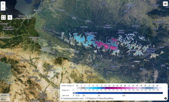 Hoy continuará nevando en Pirineos, pronóstico para las próximas 24h https://t.co/N7YHgmCKBg