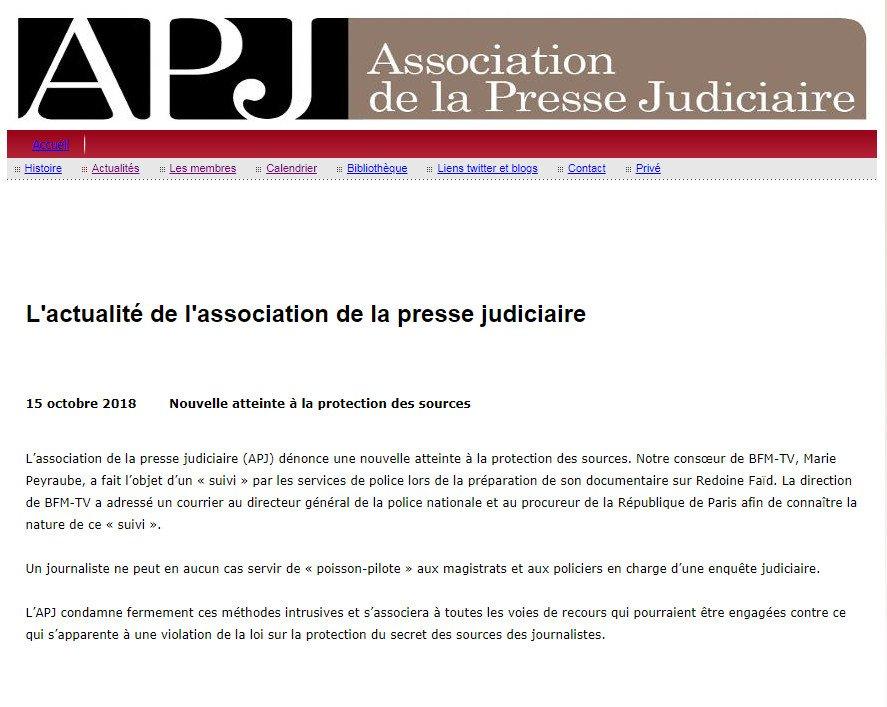L'association de la presse judiciaire dénonce une nouvelle atteinte au secret des sources des journalistes @NBelloubet @FrancoiseNyssen @MinistereCC @justice_gouv @EmmanuelMacron   http://pressejudiciaire.fr/2.html