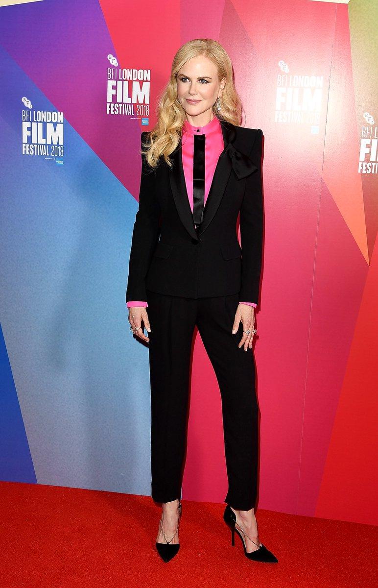 Actress @NicoleKidman wore a #GiorgioArmaniPrivé tuxedo at the @britishfilminstitute 2018 London Film Festival #ArmaniStars