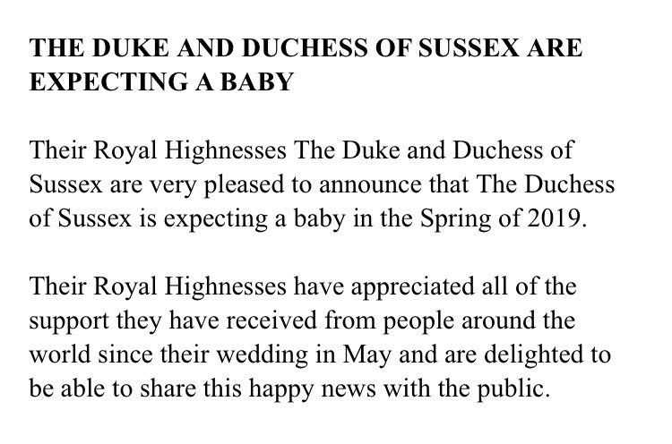 Here's the statement from @KensingtonRoyal #royalbaby #minisussex 👶🏼 👑