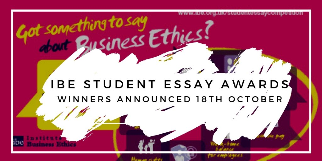 inst business ethics on twitter the winners of our student ethics  join us to hear the winning essays  httpswwwibeorgukforthcomingevents  businessethics csr  sustypictwittercommqsximovi