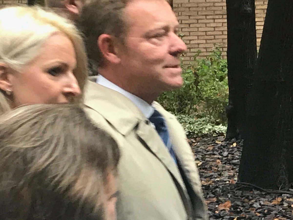 Conservative MP for South Thanet Craig Mackinlay arrives at Southwark Crown Court today at start of trial on charges relating to election expenses.  There are two other defendants.