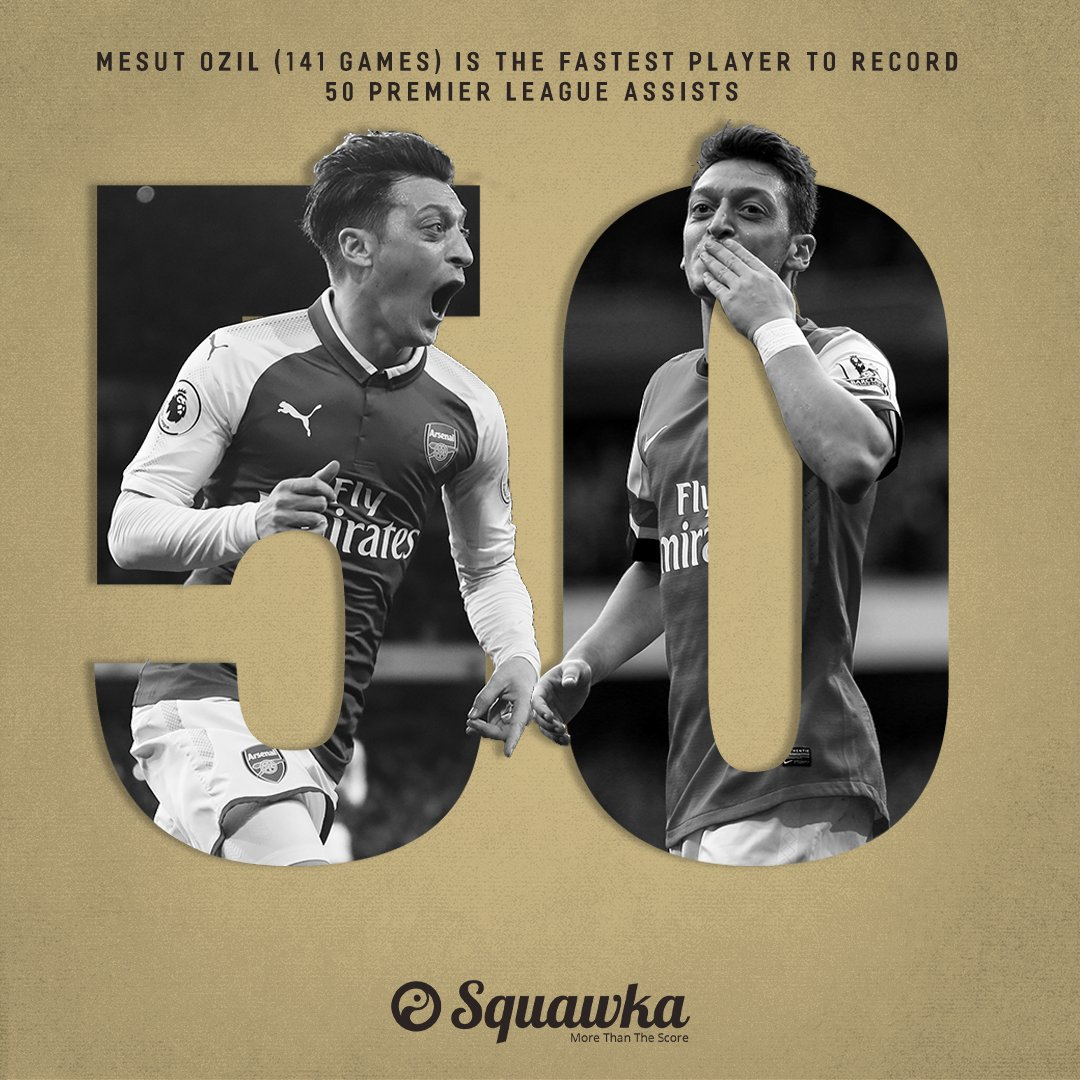 Mesut Özil holds the record for the fewest games needed to provide 50 Premier League assists.  141 games to be precise.  <br>http://pic.twitter.com/V9szZ4xpIM