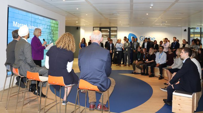 @margot_james_mp @DCMS takes questions from Atos staff while opening our new #AI lab at...