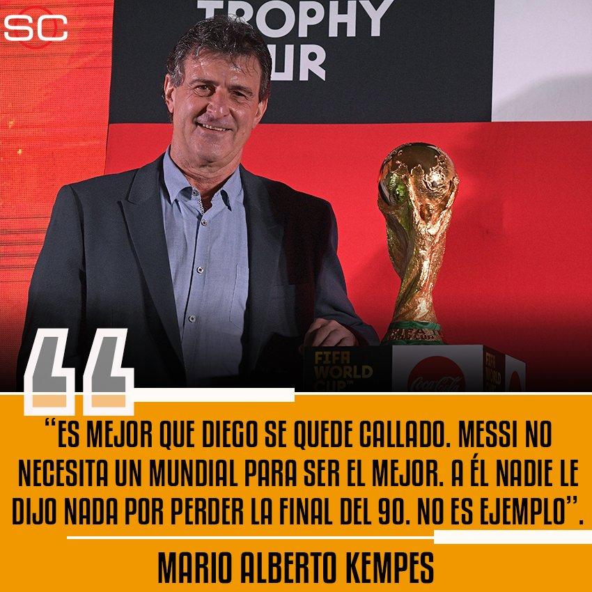 ¡Durísimo! Mario Kempes, un histórico de la Selección argentina, salió con los tapones de punta contra Diego Maradona tras las críticas a Messi. 'Yo también gané un Mundial y eso no me hace mejor que La Pulga', agregó el Matador.