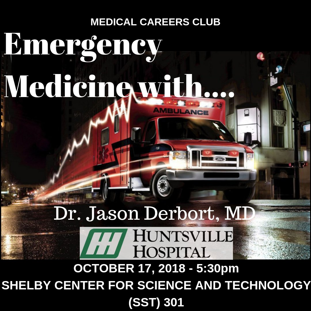 Getcha heart racin' and your adrenaline pumpin' because we're gonna have a presentation about Emergency Medicine with Dr. Jason Derbort, MD from the Huntsville Hospital Emergency Department! #EmergencyMedicine #MCC #HuntsvilleHospital #UAH #Meeting #SoundTheAlarm #UAHMCC #HSV #ALpic.twitter.com/lzsrTLfRUP