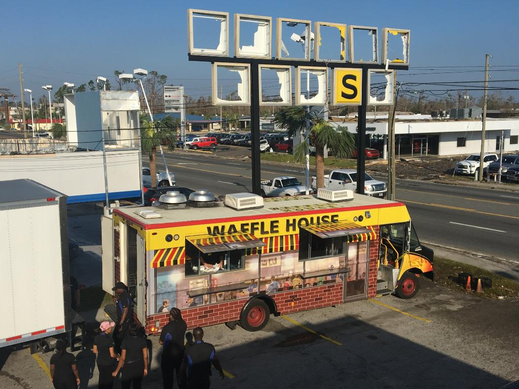 The @WaffleHouse food truck has rolled into Panama City. We are giving out free food curbside at 2217 Thomas Drive. Come on by until 6 pm! <br>http://pic.twitter.com/Uqn4ZX1WTk