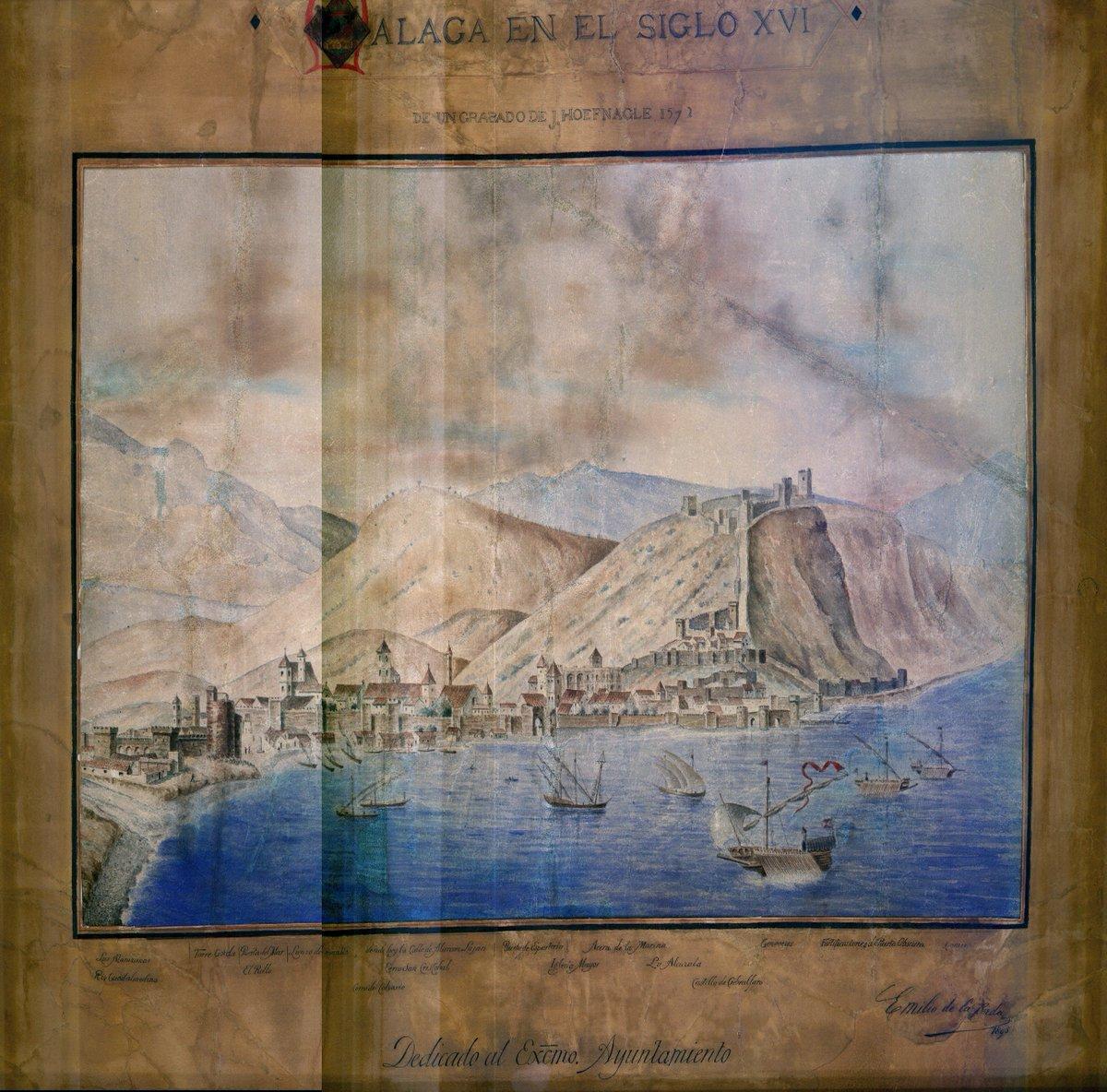 Comenzamos la semana con esta preciosa vista de Málaga en el siglo XVI. Fue realizada en el año 1895, por Emilio de la Cerda, a partir de un grabado de Hoefnagel del año 1572 #FelizLunes