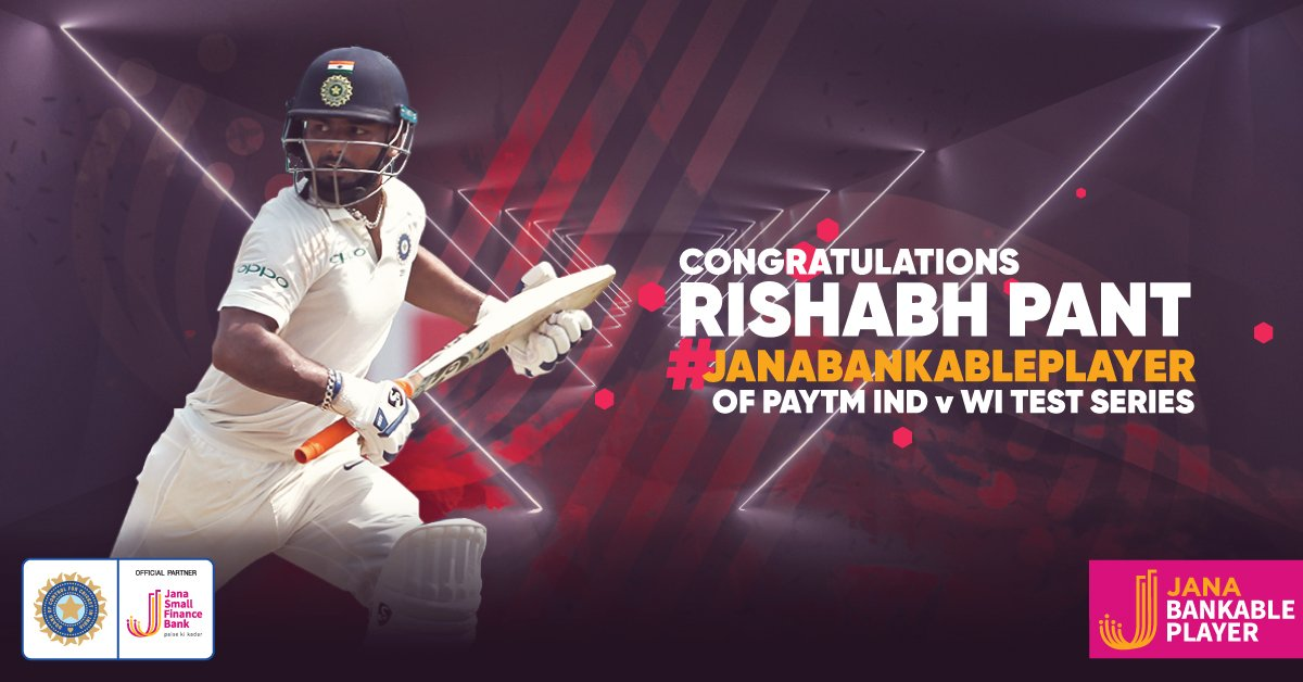 Congratulations @RishabPant777 on winning #JanaBankablePlayer of the Series for your splendid scores down the order of both matches & safe hands behind the stumps. #INDvWI