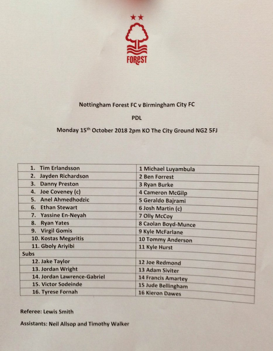 Today's Under-23s team sheet #BCFCu23s
