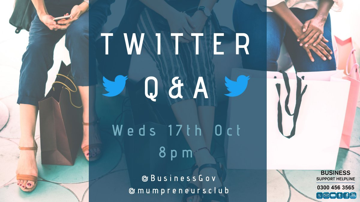 Don't forget to join us for our Q&A session with  tom@mumpreneurscluborrow at 8pm when we'll be chatting about turning your hobby into a business, time management, making your business stand out from the crowd and more #BSHelpline
