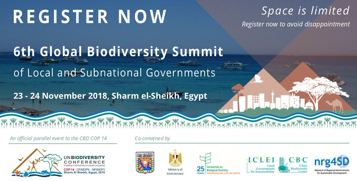 Register now for the #6thBiodiverCitySummit at #COP14 #CBDCOP14 https://t.co/lyNTy8ORnE  What to expect? See the 5th #BiodiverCity Summit website https://t.co/1uMoMgtHep  Space is limited- registration closes 31 Oct