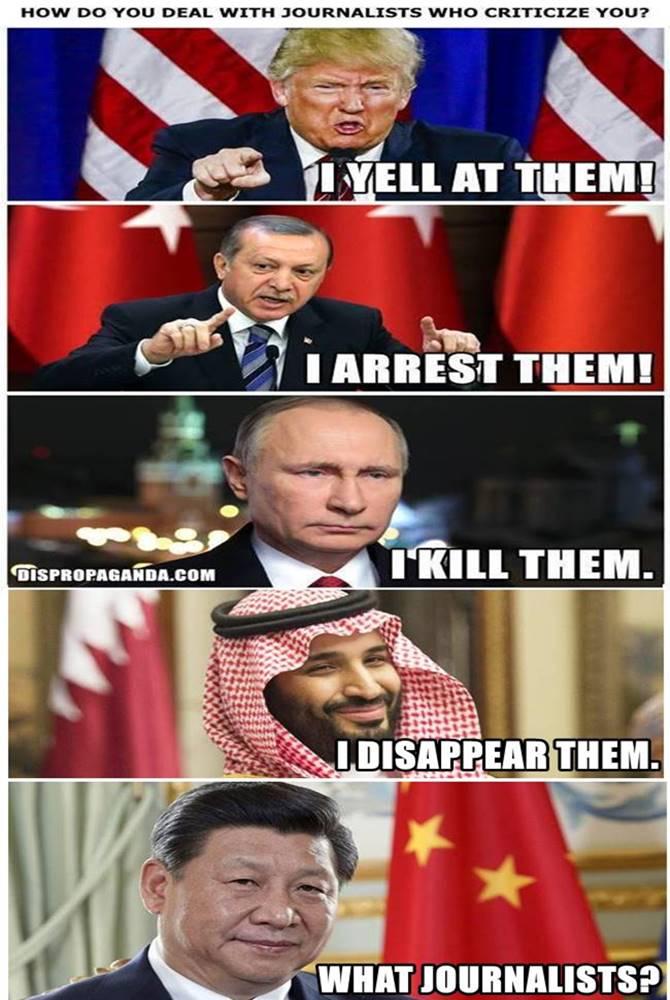 How world leaders deal with journalists.  #Kashoggi #MBS #Putin #Erdogan #Trump #XiJinping<br>http://pic.twitter.com/KE4EORUXuu