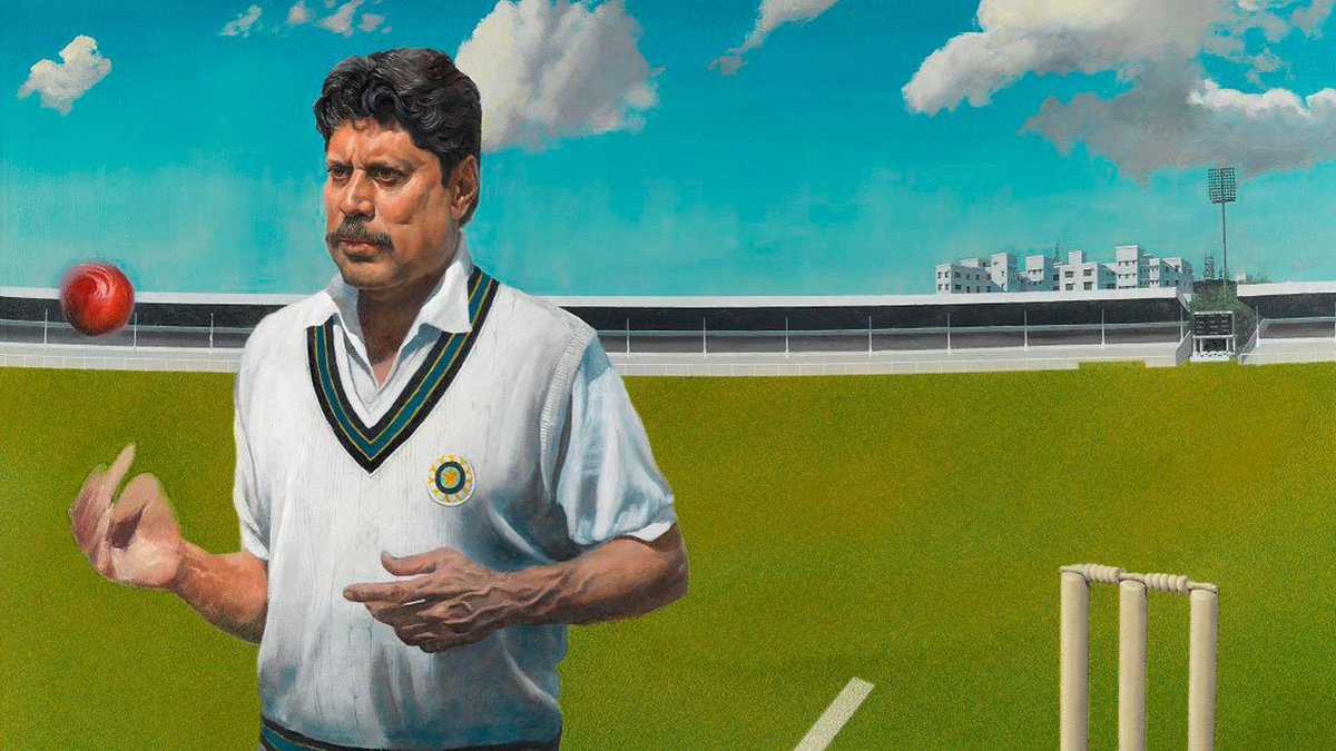 📅 #OnThisDay in 1979, Kapil Dev made his Test debut for India.  He went on to become one of the great all-rounders scoring 5,248 Test runs & taking 434 Test wickets.  🖼 Not only that, but his marvellous portrait (below) now hangs in the Lord's Pavilion ⬇️