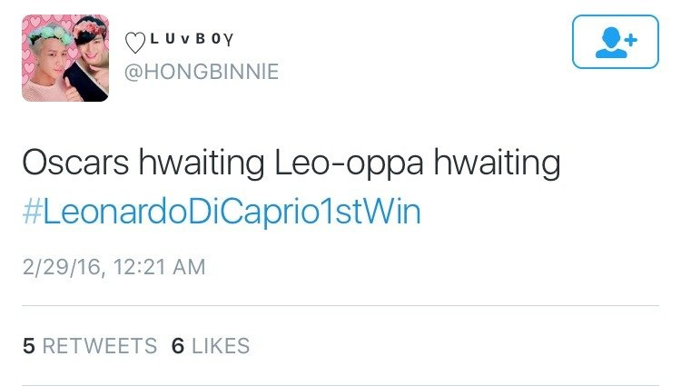 remember when Leonardo Dicaprio finally won an oscar and kpop fans trended #LeonardoDicaprio1stwin<br>http://pic.twitter.com/u0ldri4na1