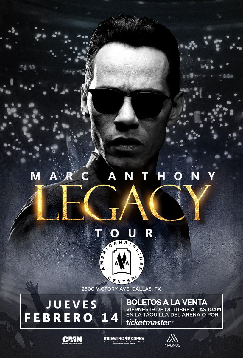 JUST ANNOUNCED: @MarcAnthony is bringing his Legacy Tour to AAC on February 14, 2019! Tickets go on sale this Friday, October 19 at 10am.