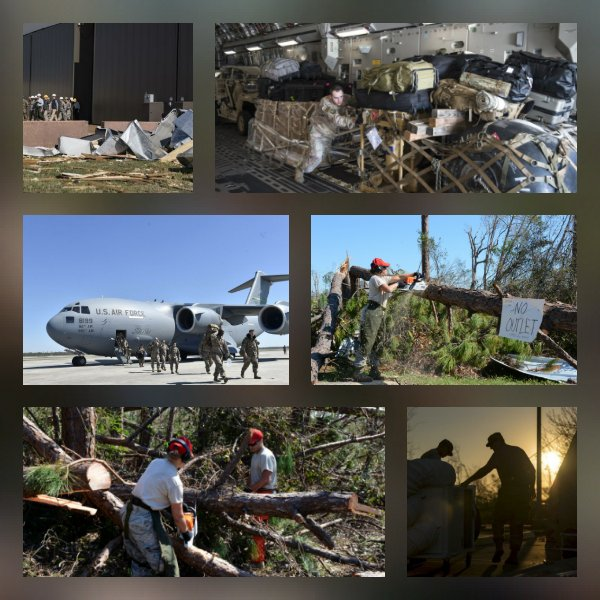 Relief efforts are well underway @TeamTyndall after #HurricaneMicheal. Total Force #Airmen are working hard with our sister services, civilian agency partners and volunteers to get the community back up and running. @FEMA<br>http://pic.twitter.com/HYD3mBBZ4x