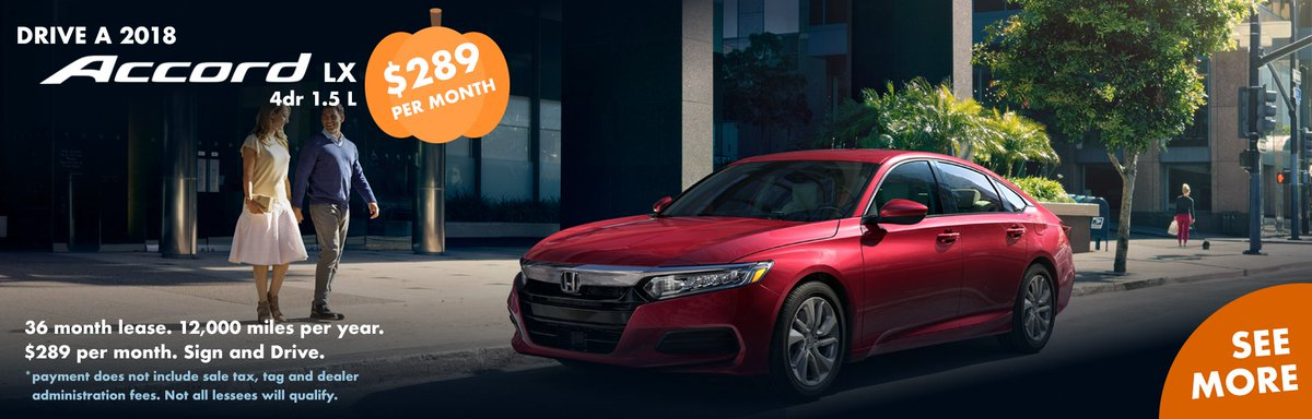 Drive A @Honda #Accord LX For Only $289 A Month! Lease Lasts For 36 Months  And Covers 12,000 Miles A Year. Other Payments May Apply.