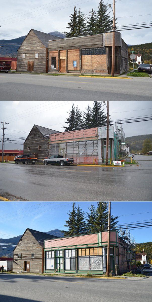 Composite Of Three Images Showing A Buildings Repairs Over Time From Weathered Brown To Pink And