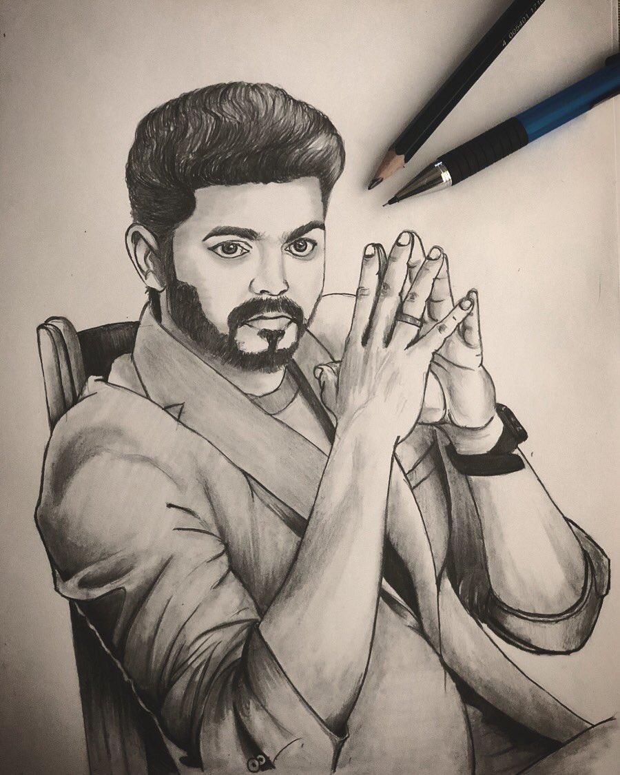 Vijay Simple Drawing Photos