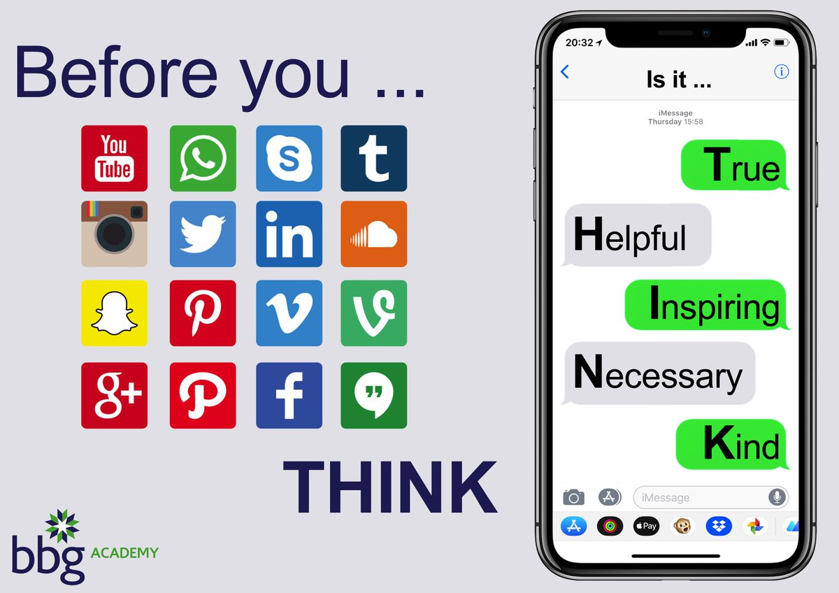 Please THINK before using social media. Is your post True, Helpful, Inspiring, Necessary and most importantly Kind?