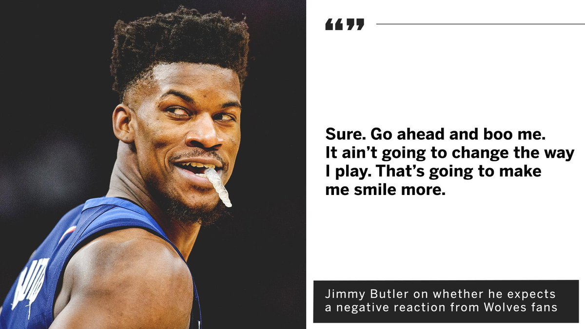 Jimmy Butler isn&#39;t worried about potentially getting booed in his first game of the season. <br>http://pic.twitter.com/T3nqCD1qXO