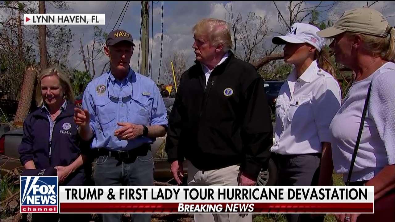 Happening now, @POTUS and @FLOTUS touring hurricane devastation in Florida. https://t.co/44vmwremGC https://t.co/crWu8uGjYy