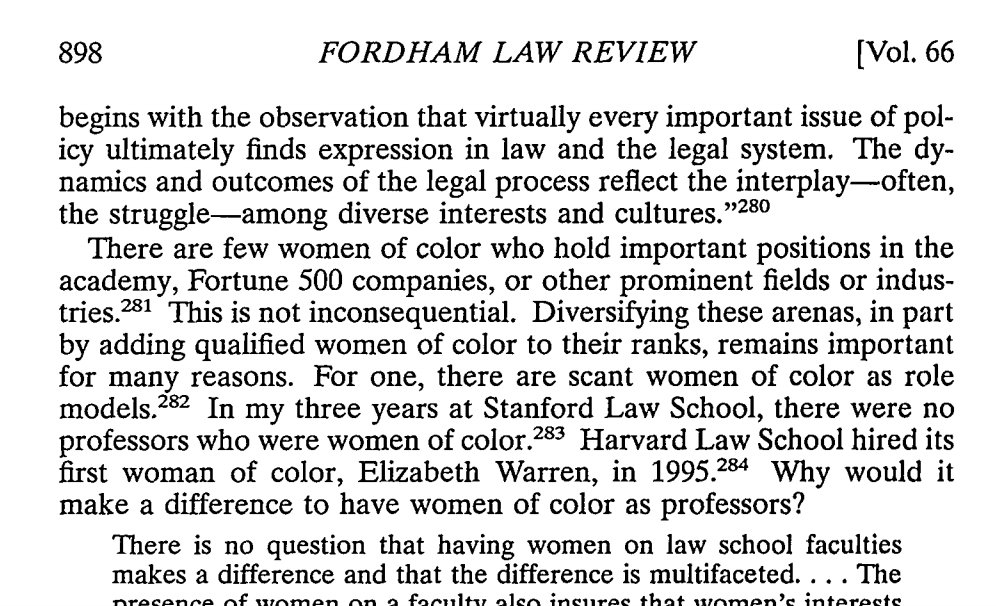 "A 1997 Fordham Law Review piece described Elizabeth Warren as Harvard Law School's 'first woman of color.""  https://t.co/klZwCPFfvF"
