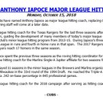 The #Cubs have named Anthony Iapoce as major league hitting coach.