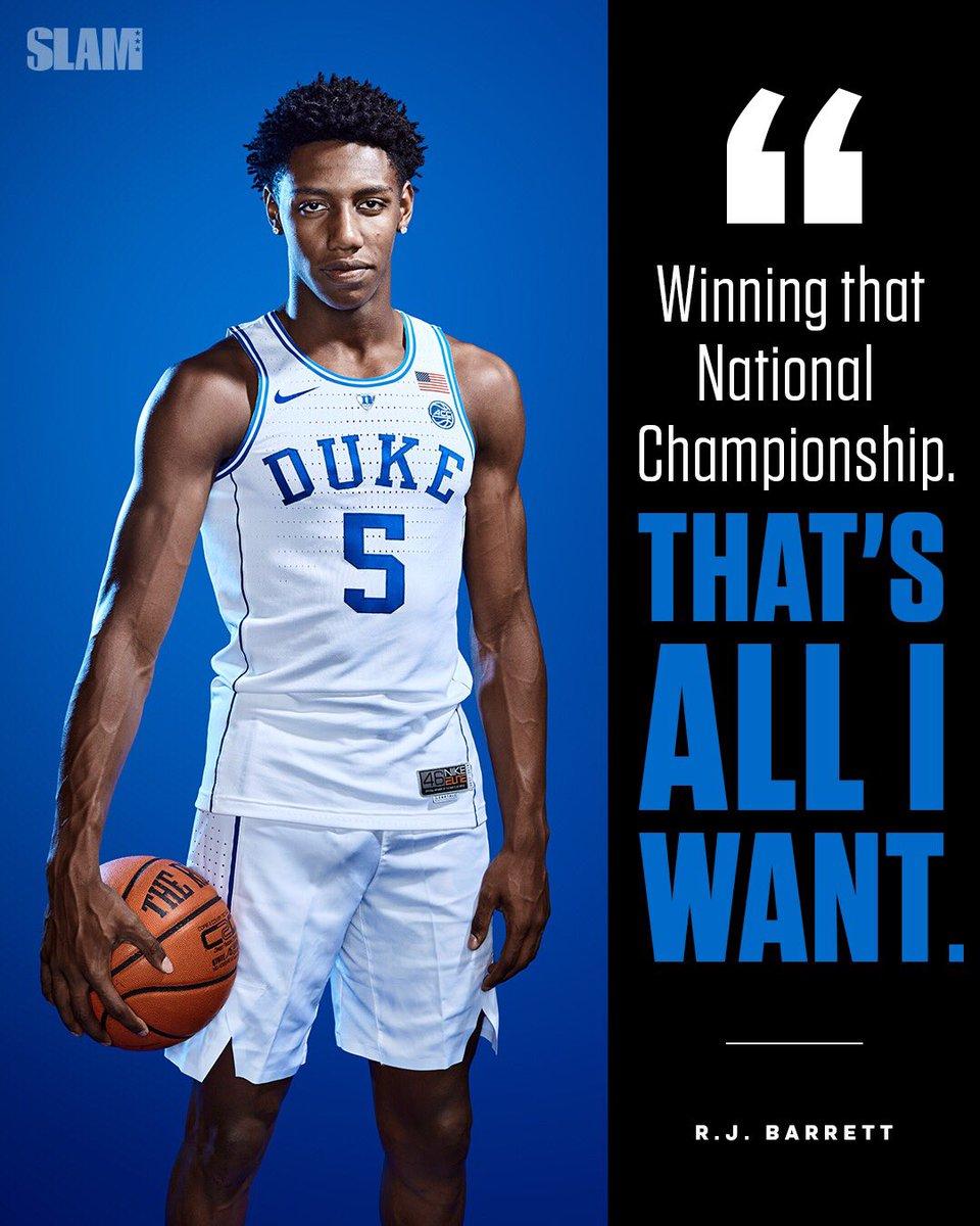 RJ Barrett has plenty of hardware already, but all he wants now is an NCAA Natty 🏆 https://t.co/5iLRWonzIT