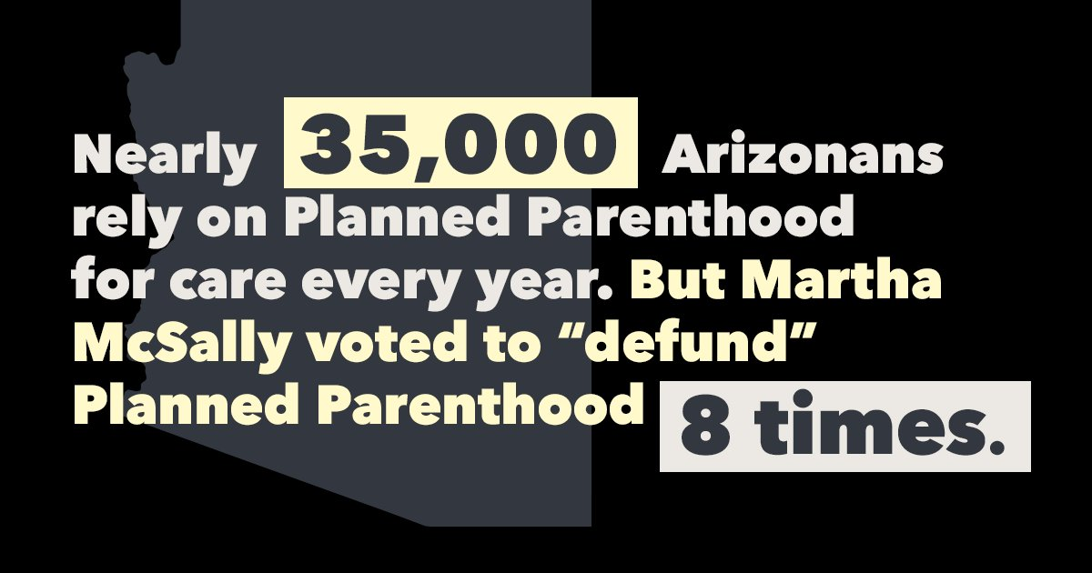 """Here's what @MarthaMcSally didn't mention about her voting record: She's voted a whopping eight times to """"defund"""" Planned Parenthood and block patients  from accessing birth control, cancer screenings, and other preventive care at its health centers. #AZSen"""