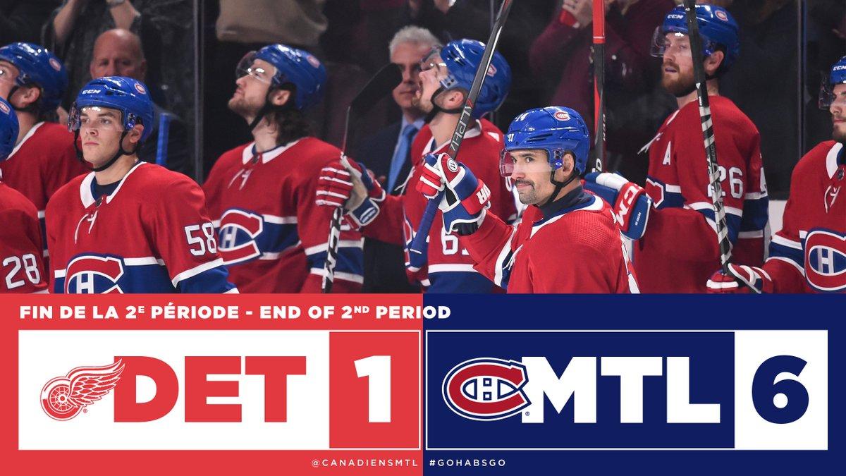 Le Tricolore ajoute trois buts à son compteur lors du deuxième 20.  The Canadiens add three more goals during the second period.  #GoHabsGo