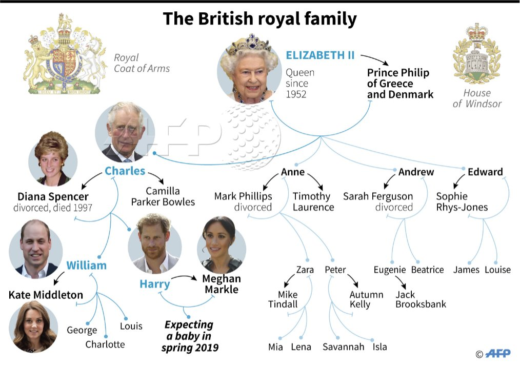 Family tree of the British royal family as Prince Harry and Meghan announce they are expecting a baby