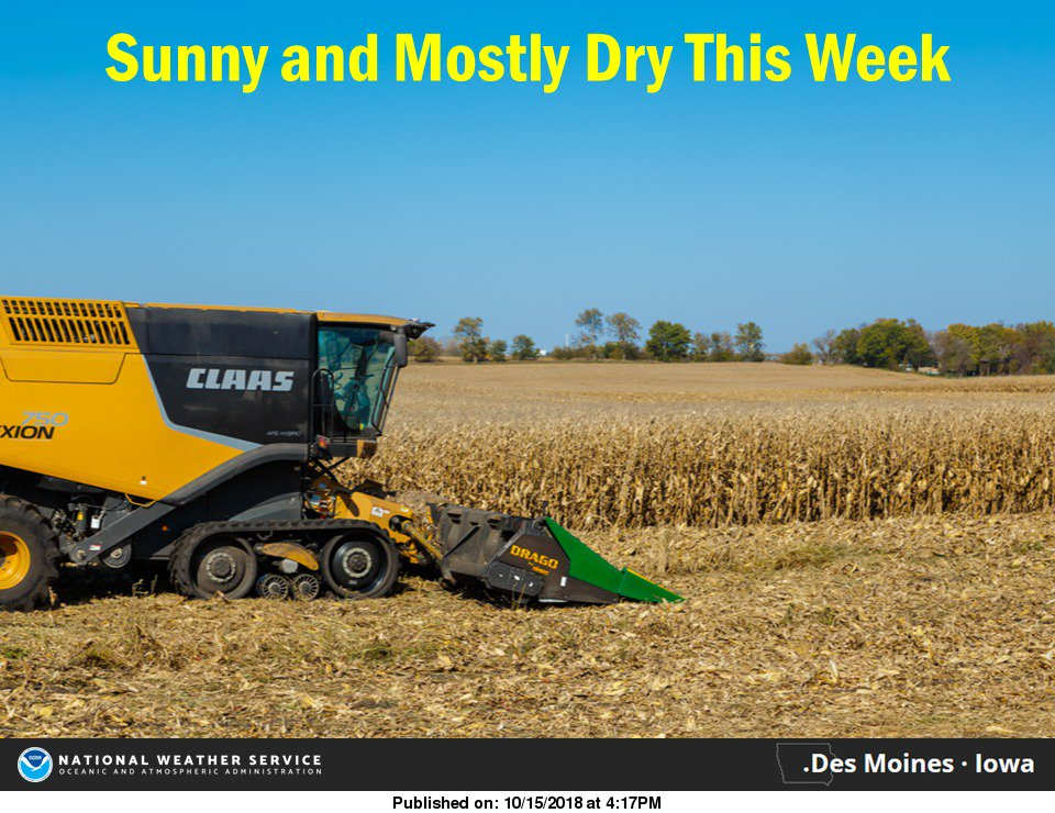 Sunny and Mostly Dry this Week #iawx