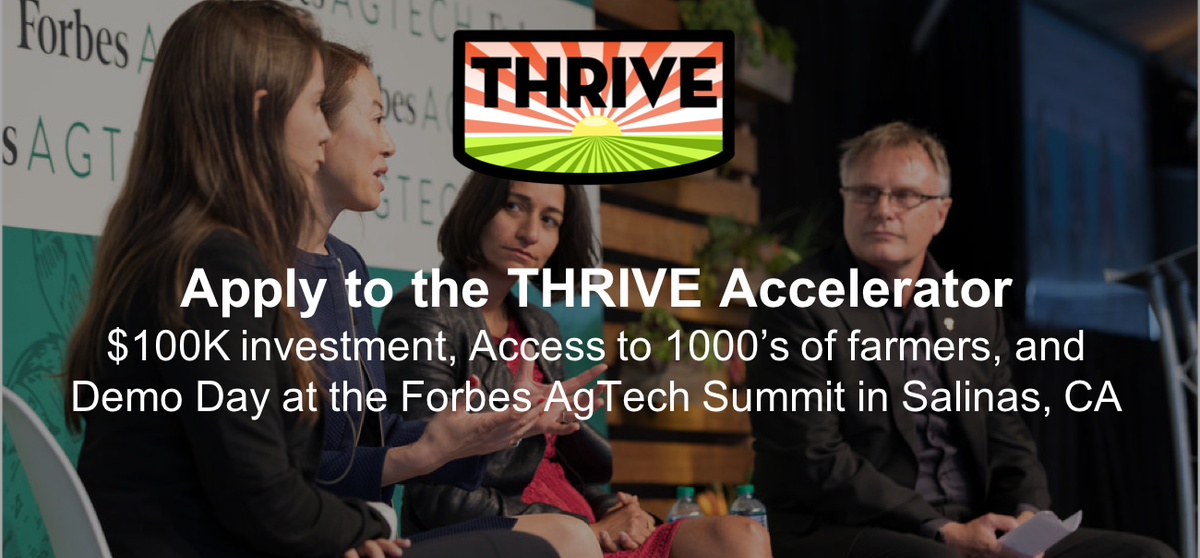 We are proud to be @THRIVEAgTech accelerator alumni! The networking, connections, and access to powerhouse growers across the country have been invaluable to our growth as an #agtech #startup. Deadline for the next round is just two weeks away. See more info👇🏽