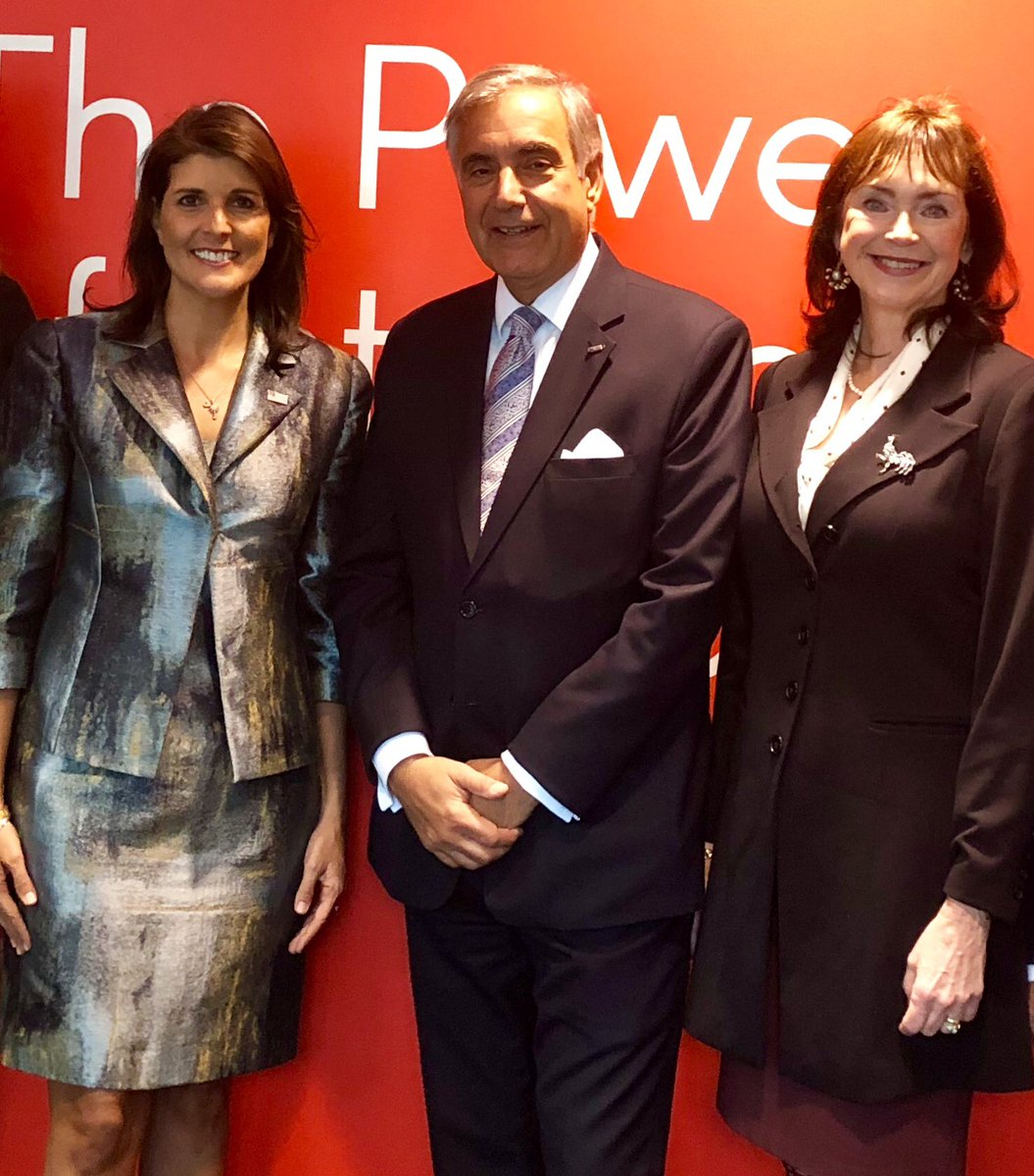 So pleased that Patricia and I met with Amb. Nikki Haley today in NYC. Both of us face career changes but are optimistic. Grateful for her service to SC and the USA. <br>http://pic.twitter.com/T03XnshuZg