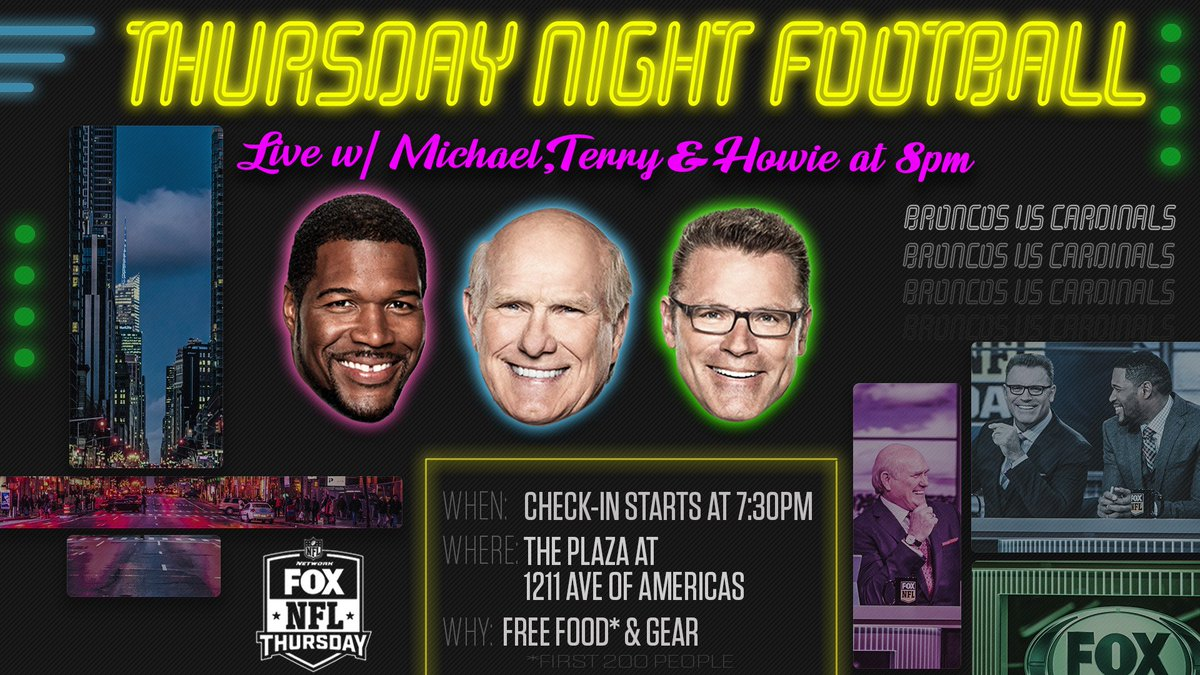 The NFL on FOX crew is back!  Come be in the audience for the TNF show LIVE from New York City TONIGHT! Check in starts at 7:30pm ET.  Get your free ticket here: https://t.co/gLoDPDSgSZ