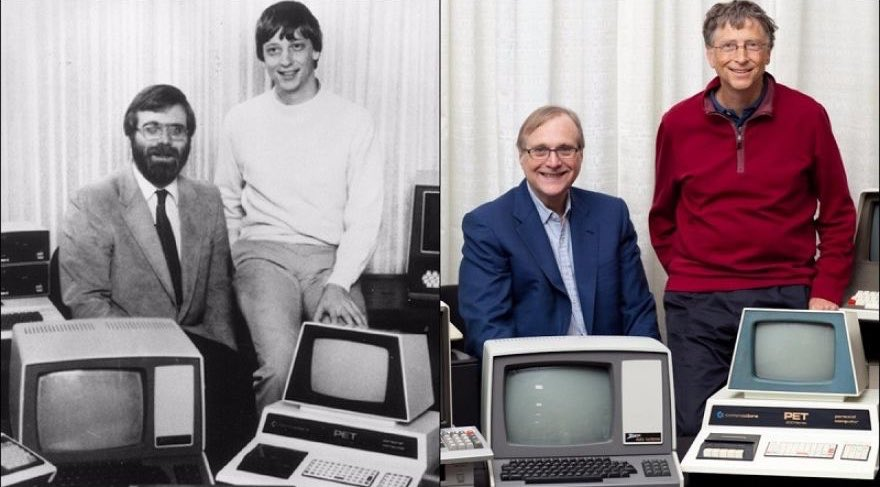 Paul Allen and Bill Gates in 2013, recreating their classic 1981 photo: