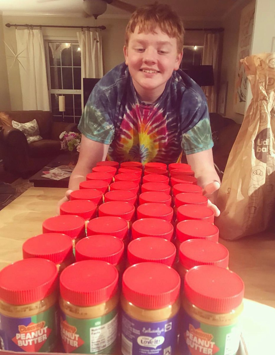 Dear @LidlUS   My name is Bean. I eat peanut butter and jelly English muffins for three meals a day.   Back in February, my mom bought 72 jars of your peanut butter when it was on sale for 78 cents a jar. I numbered each jar.