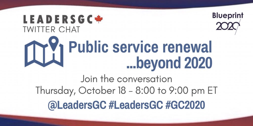 Can you feel a wave of change sweeping across our public service? New ways of working, eagerness for collaboration, user-centred approaches, agility, openness, breaking silos... yet we still have a ways to go! Join this week's #LeadersGC chat &amp; help shape what comes next! #GC2020<br>http://pic.twitter.com/P8oFaY2Esw