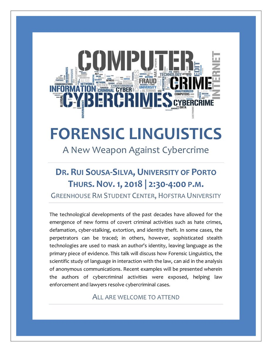 Rui Sousa Silva On Twitter Forensic Linguistics A New Weapon Against Cybercrime 1 Nov Hofstrau All Are Welcome To Attend