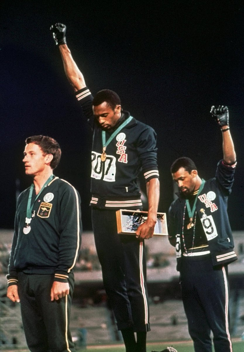 50 years ago today, athletes Tommie Smith and John Carlos raised their fists in silent protest during the U.S. national anthem at the 1968 Olympics.