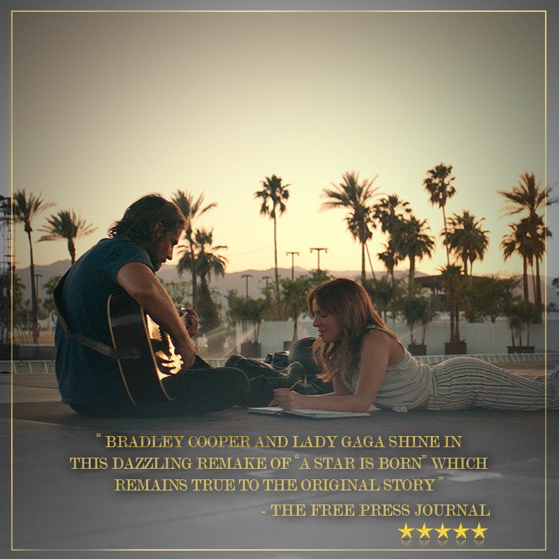 The critics have given their word. #AStarIsBorn Watch the musical masterpiece  starring  and  now pl#BradleyCooperaying@ladygaga in cinemas near you.  Book tickets: Paytm:  BMS: https://t.co/6UFWviTBKhhttps://t.co/weOeykizvM
