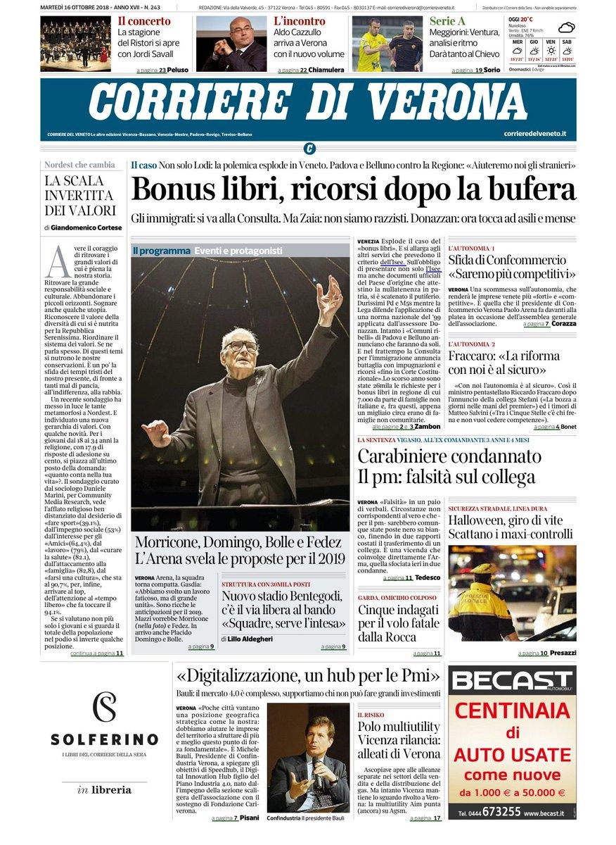 #verona Ecco la prima pagina del Corriere di Veron...
