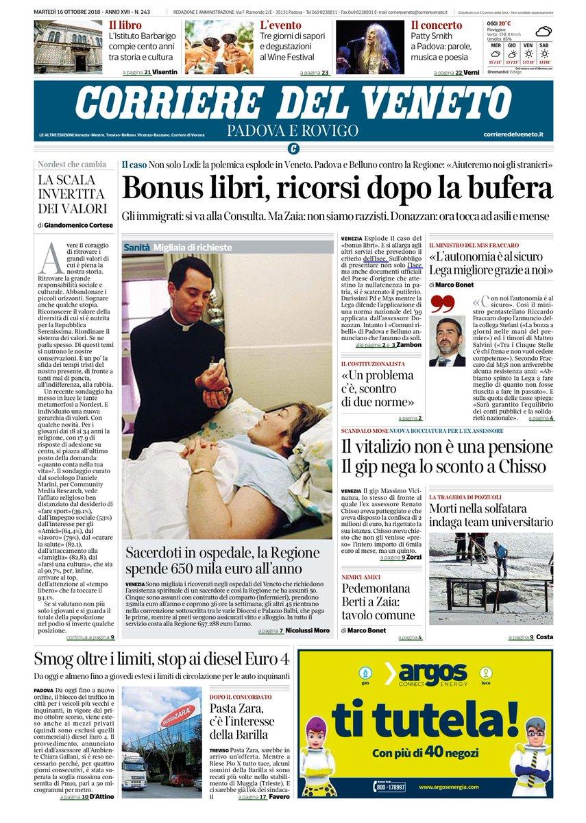 #veneto Ecco la prima prima pagina del Corriere de...