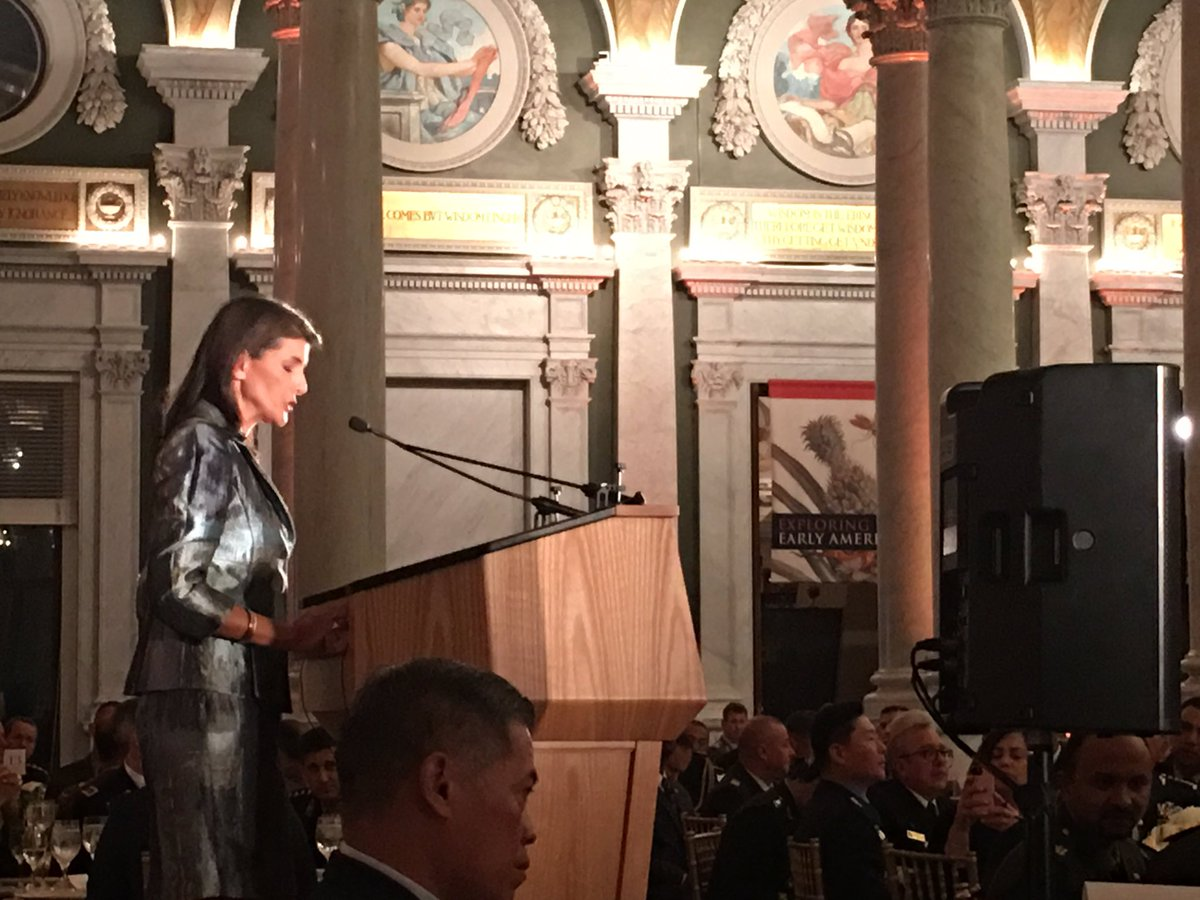 "In her first public remarks since announcing she is stepping down, Nikki Haley calls out Chinese internment camps. ""In China, the government is engaged in the persecution of religious and ethnic minorities that is straight out of George Orwell,"" Haley told 80 defense chiefs. <br>http://pic.twitter.com/b3Ab6dPmw1 &ndash; à Library of Congress Main Reading Room Overlook"